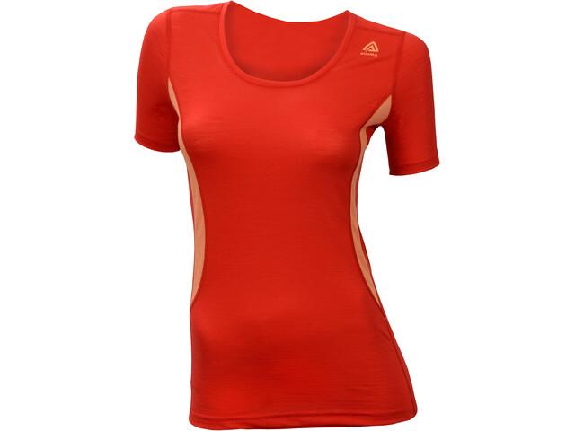 Aclima LightWool Round N T-Shirt Women high risk red/muskmelon